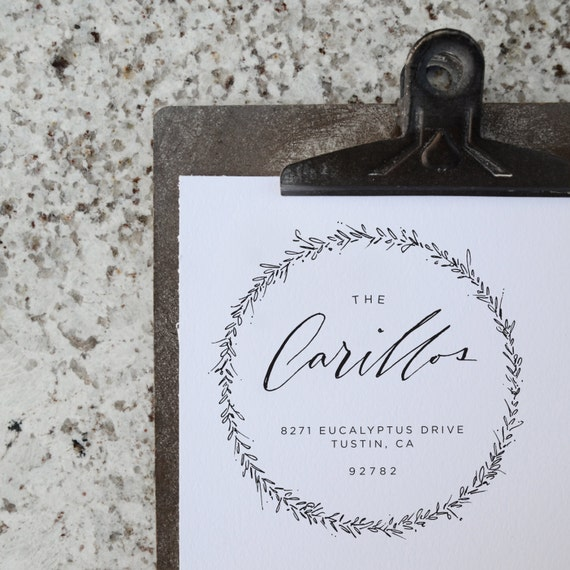 Custom Calligraphy Wreath Address Stamp By Carilloandco On