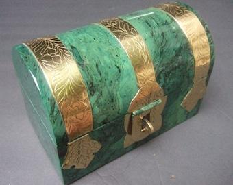 Sleek Enamel Brass Metal Decorative Trunk Box c 1970s