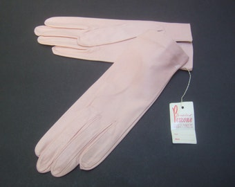 Elegant Pale Pink Italian Leather Gloves c 1960