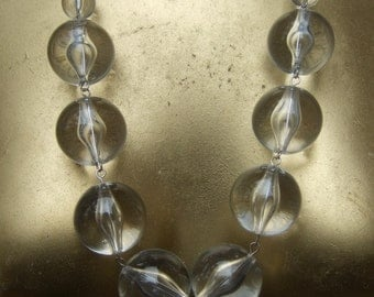 Long Lucite Beaded Statement Necklace