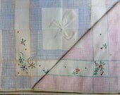 Hankies Vintage Set of Two Handkerchiefs 1950s Pink and Blue Embroidered in Original Box
