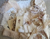 Shabby Tea Dyed Inspiration Kit Vintage Lace Cream and Tan with Lace Buttons Fabric and Doilies
