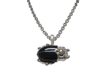 Black Beetle Insect Pendant Necklace