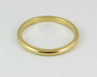 2mm x 1.5mm 14k / 18k / 22k / 24k Traditional Flat Sided Domed Wedding Band