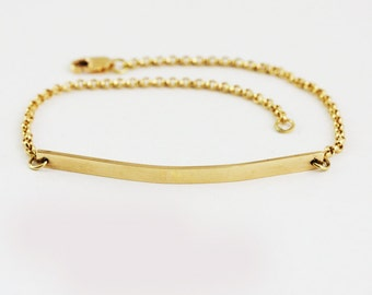 Heavy Personalized 18k Gold Bar Bracelet - Engraved Gold ID Bracelet