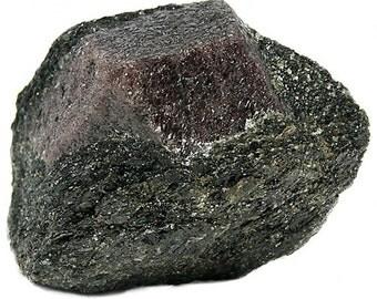 Red Almandine Gem Garnet in Biotite Schist Rock,  Raw Gemstone Crystal Mineral Specimen mined at River Valley, Ontario, January Birthstone