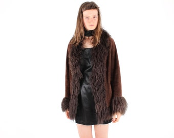 90s Does 60s Shaggy Mongolian Lambswool Fur + Genuine Suede PENNY LANE Almost Famous Groupie Hippie Coat