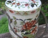 Vintage Daher Peony Bucket Tin - Metal Canister with Handle - Lidded Floral Container - Asian Motif Pail - Made in England Biscuit Box