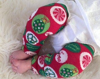 Circle Holiday Christmas Tree Baby Legs/ Leg Warmers candy cane