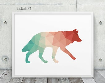 Coral & Mint Wolf Print. Triangle Geometric Print. Wolf Wall Art. Woodland Animal Print.  Nursery Home Office Decor. Geometric Art Printable