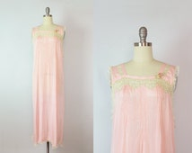 vintage 20s lingerie / 1920s slip dress / silk and lace 20s nightgown / pink silk nightgown / floral lace nightie