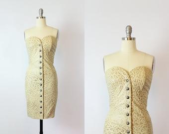 vintage 90s NORTH BEACH leather dress / 1990s Michael Hoban dress /leopard print leather dress / bodycon leather dress