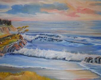Ocean Painting, Monterey Painting, Cypress Tree, Pacific Ocean,27,40, Dan Leasure Oil