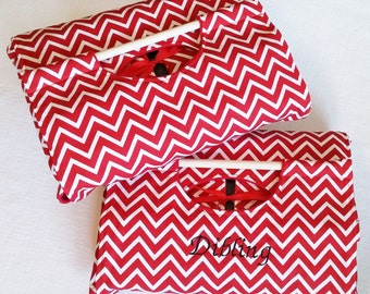 Red 9x13 Mini Chevron Print Dish Tote with FREE Shipping - Red and White ZigZag Stripe, Can be Personalized, American Made