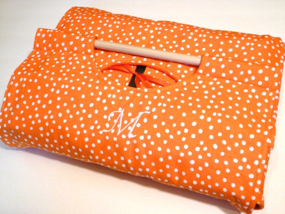 FREE SHIPPING Made-To-Order Orange 9x13 Dish Tote with Custom Embroidery - Machine Washable - Orange and White Polka Dot