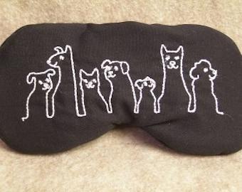 Embroidered Eye Mask, Dog Eye Mask, Doggie Eye Mask, Sleep Blindfold, Slumber Mask, Eye Shade, Travel, Handmade, Dog Mask, Embroidered Cat