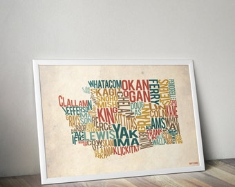 Washington by County - Typography Print
