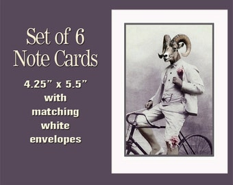 Ram Note Cards, Blank Note Cards, Whimsical Cards, Vintage Note Cards, Anthropomorphic, Steam Punk Cards, Animal Note Cards, Funny Note Card