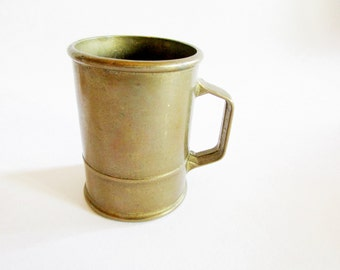 Cute Little German Vintage Primitive Rustic Brass Cup or Mug, Dolls House China Size, Rustic Farmhouse Home Decor