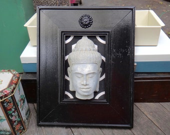 Zen, Mindfulness, Meditation, Black Decor, Black Frame, White Black Decor, Frame, Painted Frame, Asian, Medallion, Zen Statue, Yoga, Peace