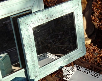 Mirror, French Country, Acanthus Leaf, Painted Mirror, Blue Mirror, Aqua, Vintage Mirror, Carved Look Frame, Cottage, Shabby Chic, CasaKarma