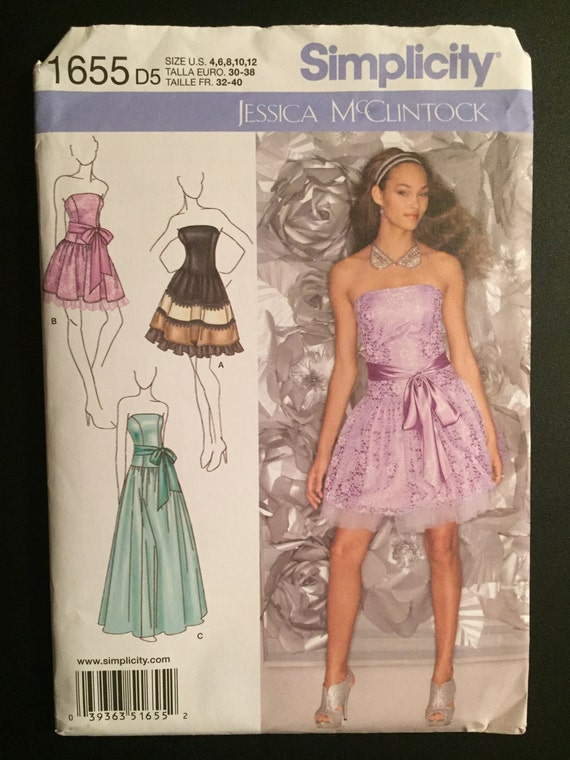 Simplicity Sewing Pattern 1655 Misses and Miss Petite Special Occasion Dress Prom, Wedding, Formal Size 4-12