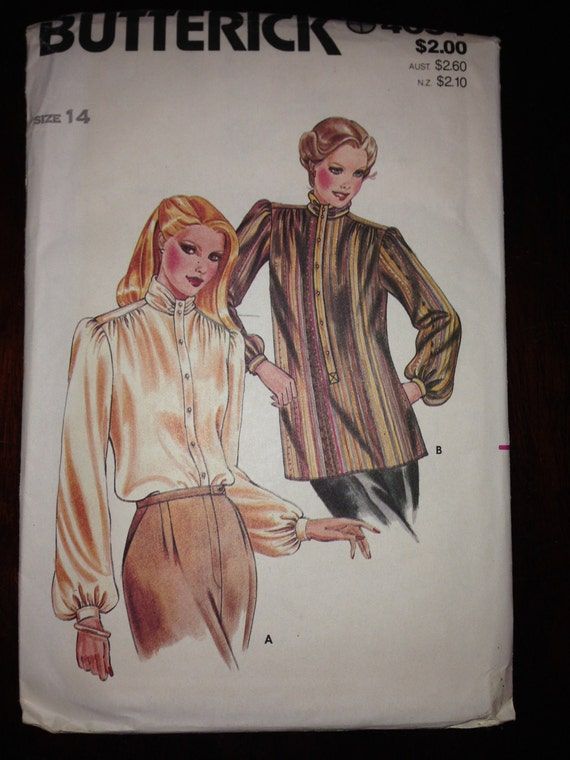 Butterick 4054 Sewing Pattern 70s Misses Blouse Size 14