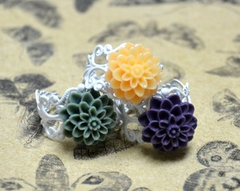 Chrysanthemum with White Enamel Ring - Spring Jewelry - Resin Flower Jewelry - PICK Your Color
