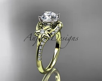 14kt yellow gold diamond floral wedding ring, engagement ring ADLR125