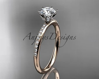"""14kt rose gold diamond unique engagement ring, wedding ring with a """"Forever One"""" Moissanite center stone ADER145"""