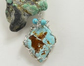 Natural Turquoise Designer Cabochon Wire Wrapped in Argentium silver wire 10-20% off coupons, Reduced Shipping  (w1561)