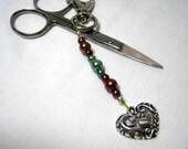 Filigree Heart Charm Scissors Fob, Jewelry Craft Sewing Tool Identifier, Stocking Stuffer