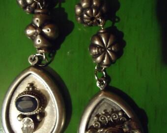 Boho Inspired Silver Surprise Vintage Inspired Ornate Earrings