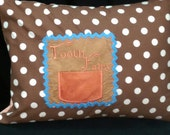 """Orange and Brown Tooth Fairy Pillow Case with Pocket for Tooth - Polka Dots, Zipper - Fits 12"""" X 16"""" Pillow Form"""