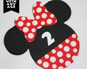 Minnie Mouse Birthday Invitation   Polka Dot   Red and Black   Cutout   Minnie Invitation   Minnie Ears   Polka Dots Invitation
