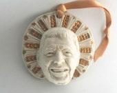 "Ronald Reagan, ""Saint Reagan"" Novelty Ornament, Porcelain, Gold, Centennial Commemorative"