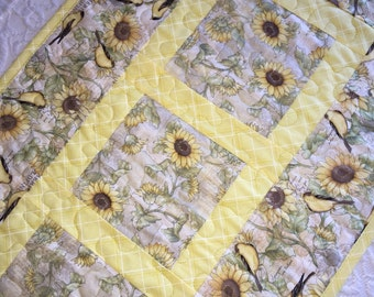 Sunflower Birds Table Runner Quilt, Yellow, Brown Table Quilt, Goldfinch, Quiltsy Handmade