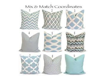 BLUE Pillows..ALL SIZES.Decorative Pillow Cover.Housewares.Throw Pillow.ZigZag.Housewares.Solid.Gray.Toss Pillow.Blue Euro.Sham.Cushion.cm
