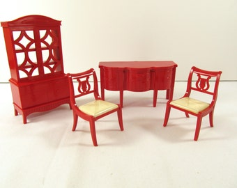 Vintage Ideal Dollhouse Dining Room Furniture, Red Buffet, Red China Cabinet, 2 Red Lyre Dining Room Chairs, Renwal Doll Furniture,