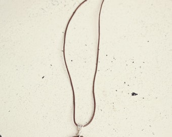 Brown Wire Wrapped Pendant Necklace, Brown Pendant Necklace, Wire Wrapped Pendant, Leather Necklace