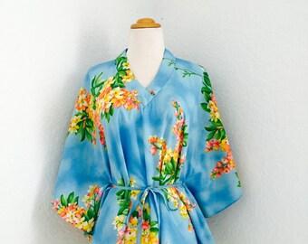 1970's Hawaiian Kimono Blouse // Tropical Print // Polynesian