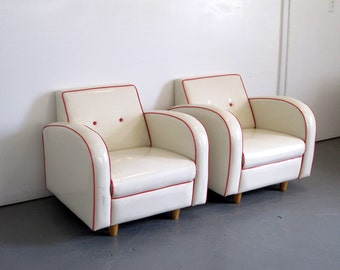 Art Deco Club Chairs - 1970s Vinyl