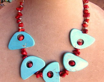 20in Necklace/Bib-5 lg Turquoise Magnesite Focal Funky Focal Beads,Red Bamboo Coral, Silver Plated Melon Beads, Silver Plated Spacer Beads