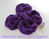 Dyed Merino Top from Ashland Bay - 2 oz of 21.5 Micron Combed Top for Spinning or Felting in Eggplant - Deep Purple Merino Top/Merino Roving