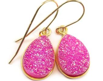 Hot Pink Drusy Earrings Druzy Teardrop Shape 14k gold filled French Ear Wires Bezel Set Simple Drops Fushia Pink AAA Quartz Simple Drops