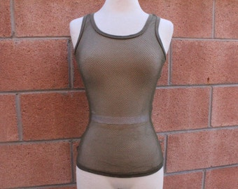 Olive green meah sporty tank top large
