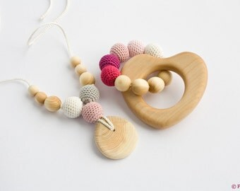 10% OFF - Nursing Necklace and Teething Ring Set - gift for baby girl, baby shower gift - FrejaToys