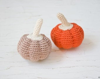 Orange Pumpkin Baby Rattle, Crochet Toy, Pretend Play, Garden - Eco-Friendly, Waldorf inspired - FrejaToys