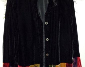Vintage Black Velvet Jacket with Patchwork Bohemian coat Hippie jacket X Large Velvet Coat White Stag Vintage Velvet style Shirt Coat