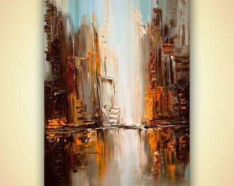 "ORIGINAL City Painting Modern Acrylic Palette Knife Abstract Downtown Textured Painting by Osnat 36"" x 24"""